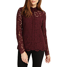 Buy Phase Eight Liv Lace Shirt, Merlot Online at johnlewis.com