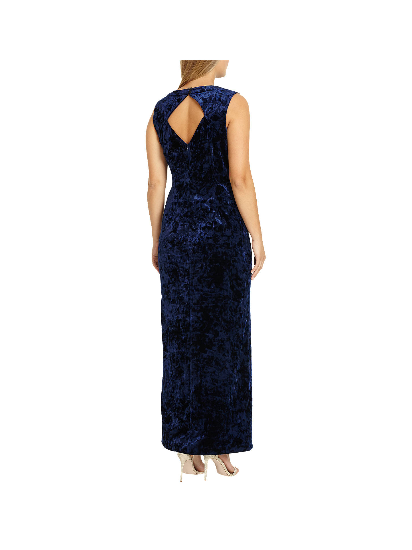 BuyStudio 8 Katie V Neck Sleeveless Velvet Maxi Dress, Navy, 14 Online at johnlewis.com