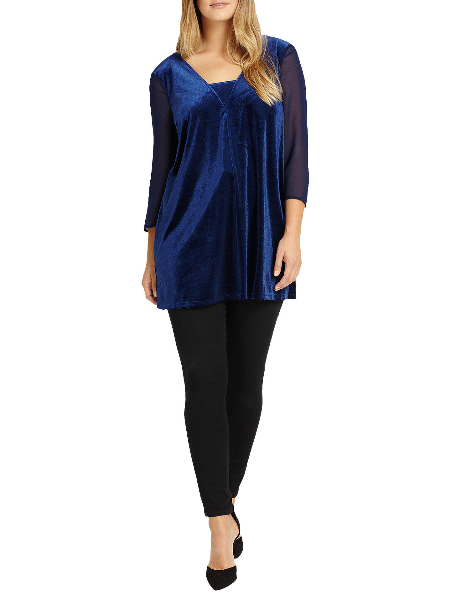 Buy Studio 8 Jessica Velvet V Neck Top, Midnight, 16 Online at johnlewis.com