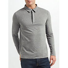 Buy Samsoe & Samsoe Heim Stretch Long Sleeve Polo Shirt, Dark Grey Melange Online at johnlewis.com