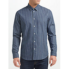 Buy Samsoe & Samsoe Liam Stripe Denim Shirt, Dark Denim Stripe Online at johnlewis.com