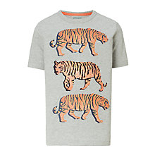 Buy John Lewis Boys' Tiger Print T-Shirt, Grey Online at johnlewis.com