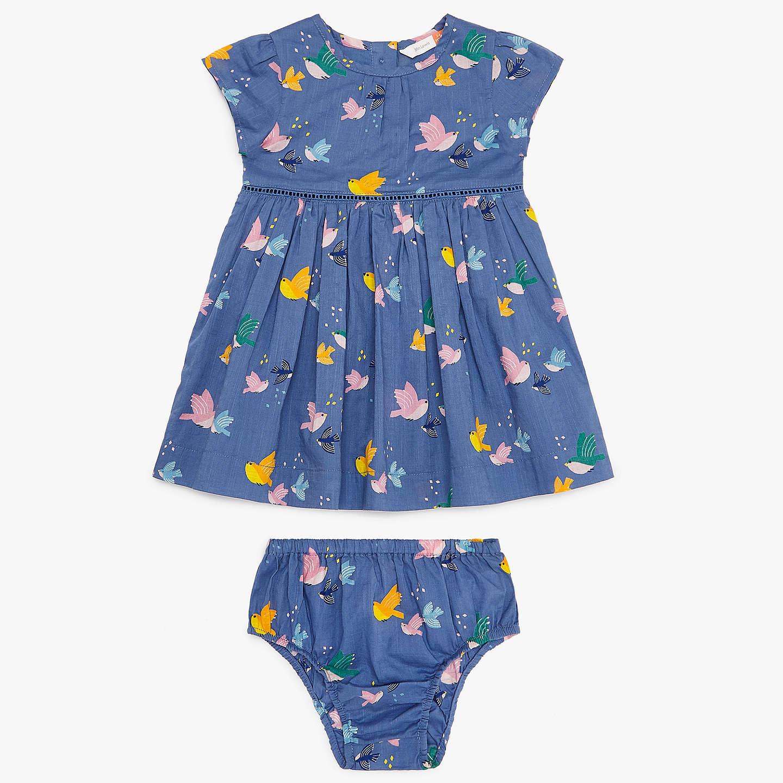 John Lewis Baby Bird Dress and Knickers Blue at John Lewis