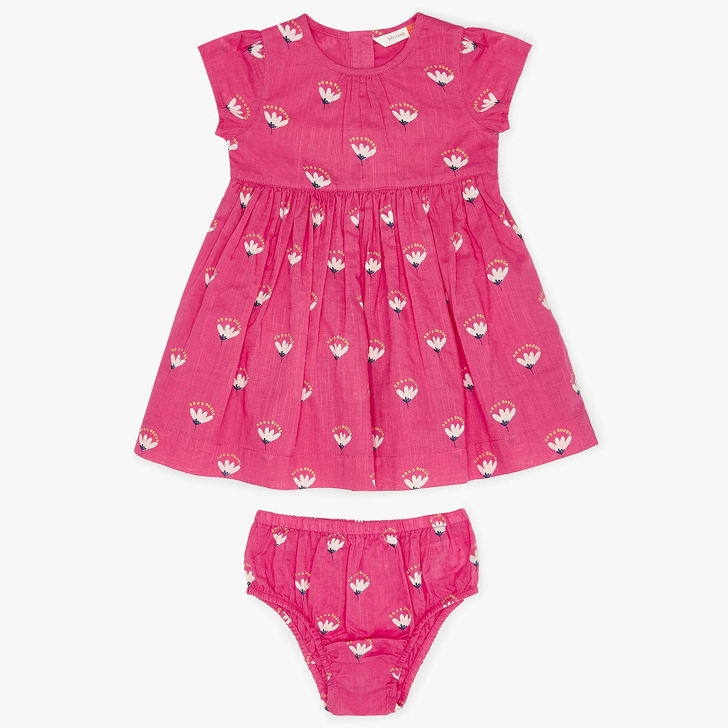 John Lewis Baby Floral Dress and Knickers Pink at John Lewis