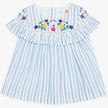 Buy John Lewis Baby Stripe Floral Embroidery Blouse, Blue Online at johnlewis.com
