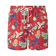 Buy Polo Ralph Lauren Traveller Tropical Print Swim Shorts, Red Online at johnlewis.com