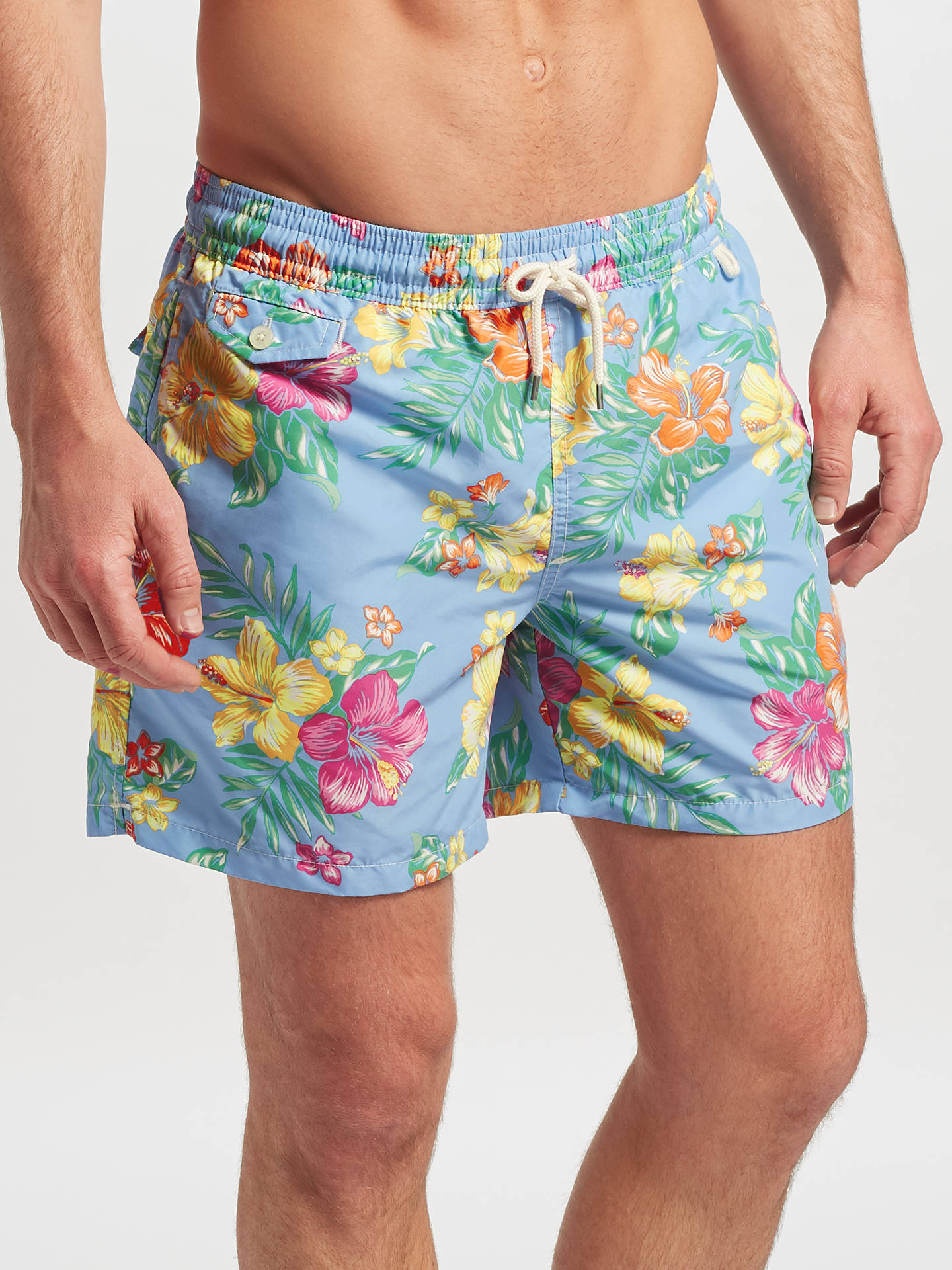 acbbe148c9 Buy Polo Ralph Lauren Traveller Hibiscus Tropical Print Swim Shorts, Blue,  S Online at ...