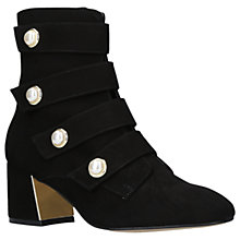 Buy Carvela Spandau Faux Pearl Block Heeled Ankle Boots, Black Suede Online at johnlewis.com