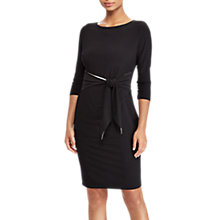 Buy Lauren Ralph Lauren Bela Tie Waist Dress, Black/Lauren White Online at johnlewis.com