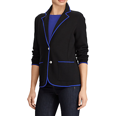 Lauren Ralph Lauren Alvarta Velvet Trim Blazer, Polo Black/Empress Blue