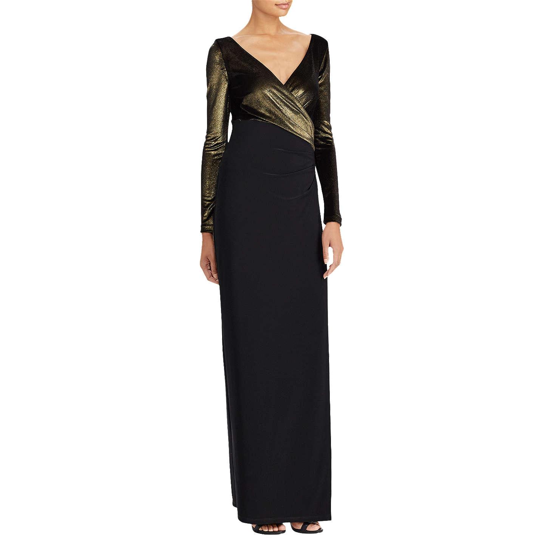 BuyLauren Ralph Lauren Cicero Evening Dress, Black/Gold, 6 Online at  johnlewis.
