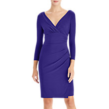 Buy Lauren Ralph Lauren Elsie Ruched Jersey V-Neck Dress, Cannes Blue Online at johnlewis.com