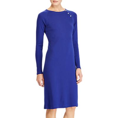 Lauren Ralph Lauren Button Trim Cotton Dress, Empress Blue