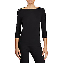 Buy Lauren Ralph Lauren Duragi Boat Neck Top, Poloi Black Online at johnlewis.com