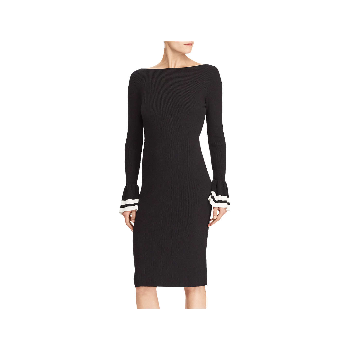 BuyLauren Ralph Lauren Ruffle Cuff Dress, Polo Black/Mascarpone Cream, XS  Online at ...