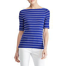 Buy Lauren Ralph Lauren Stretch Cotton Boat Neck Stripe Top, Empress Blue/Mascarpone Cream Online at johnlewis.com
