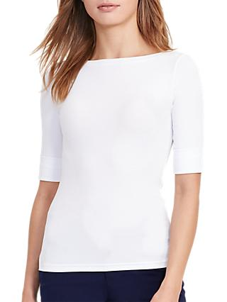 Lauren Ralph Lauren Stretch Cotton Boat Neck Top, White