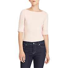 Buy Lauren Ralph Lauren Stretch Cotton Boat Neck Top Online at johnlewis.com