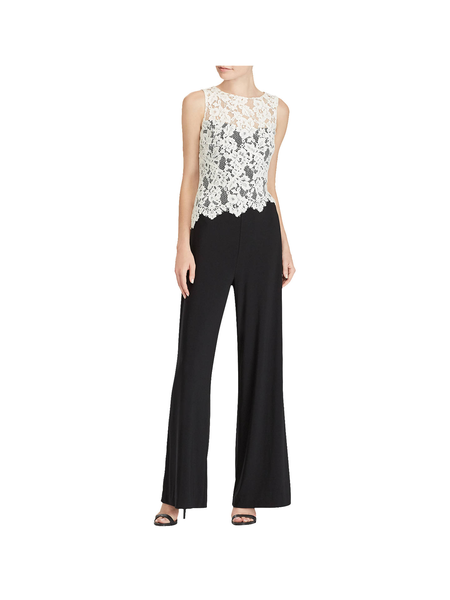 lace up in novel design highly coveted range of Lauren Ralph Lauren Zakiya Jumpsuit, Black/Lauren White at ...