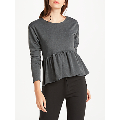 Max Studio Long Sleeve Frill Jersey Top, Charcoal