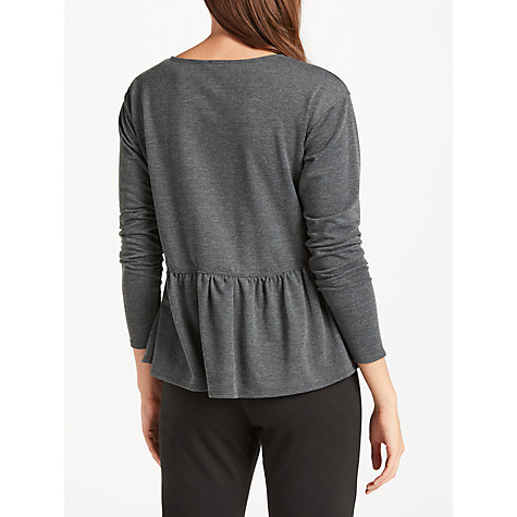 Buy Max Studio Long Sleeve Frill Jersey Top, Charcoal Online at johnlewis.com