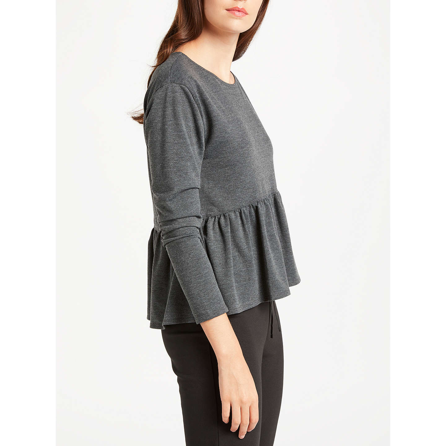 BuyMax Studio Long Sleeve Frill Jersey Top, Charcoal, S Online at johnlewis.com