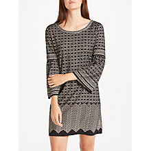 Buy Max Studio Bell Sleeve Geo Devore Dress, Black/Beige Online at johnlewis.com
