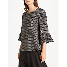 Buy Max Studio Ruffle Sleeve Printed Top, Black/Blush Online at johnlewis.com