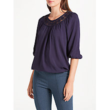 Buy Max Studio 3/4 Sleeve Yoke Top, Navy Online at johnlewis.com