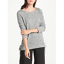 Buy Max Studio Long Sleeve Tie Side Jersey Top, Light Grey Online at johnlewis.com
