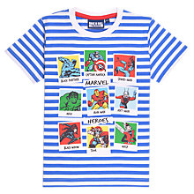 Buy Marvel Children's Action Stripe T-Shirt, Blue/White Online at johnlewis.com