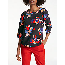 Buy Boden Alda Posy Print Top, Black Online at johnlewis.com
