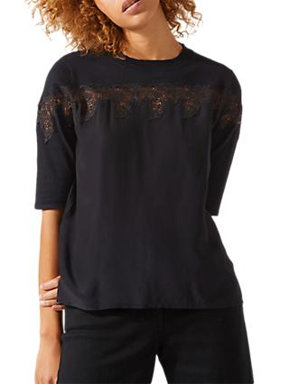 Jigsaw Lace Insert Silk Mix Jumper, Black