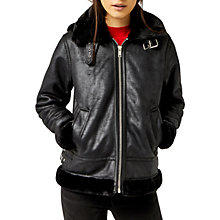 Buy Warehouse Faux Leather Hooded Biker Jacket, Black Online at johnlewis.com