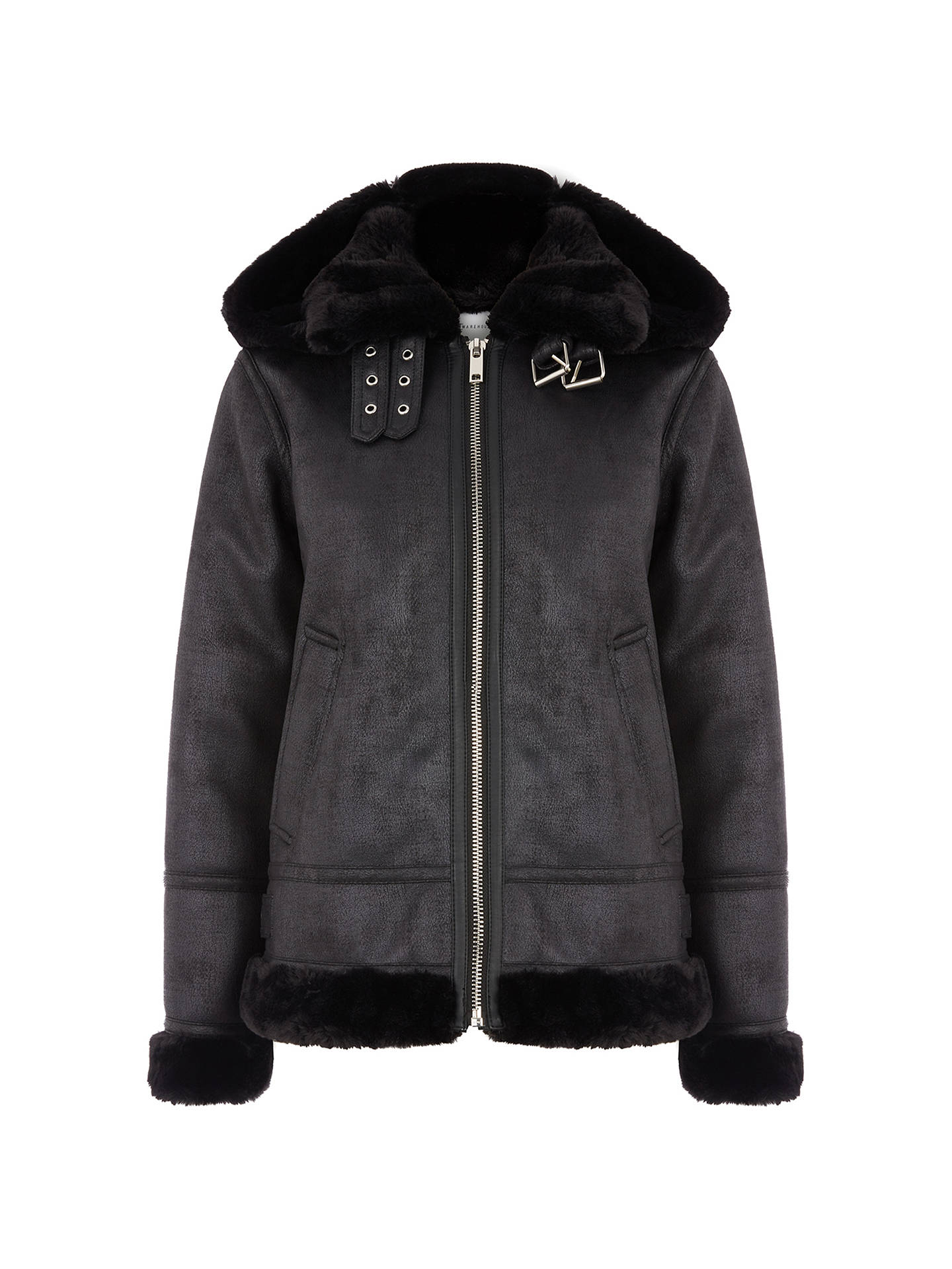 BuyWarehouse Faux Leather Hooded Biker Jacket, Black, 6 Online at johnlewis.com