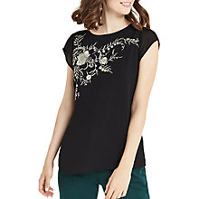 Buy Oasis Kimono Floral Embroidered T-Shirt, Black Online at johnlewis.com