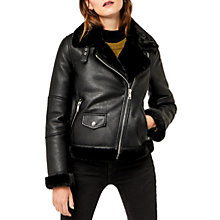 Buy Warehouse Faux Leather Bonded Biker Jacket, Black Online at johnlewis.com