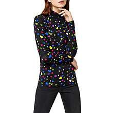 Buy Warehouse Heart Print Polo Top, Black Pattern Online at johnlewis.com