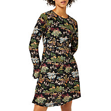 Buy Warehouse Deer Woodland Print Fluted Dress, Black Pattern Online at johnlewis.com