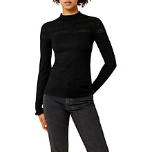 Buy Warehouse Pointelle High Neck Jumper, Black Online at johnlewis.com