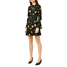 Buy Warehouse Carnation Print Skater Dress, Black Pattern Online at johnlewis.com