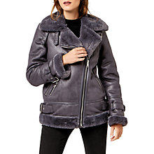 Buy Warehouse Faux Fur Trim Oversized Biker Jacket, Dark Grey Online at johnlewis.com