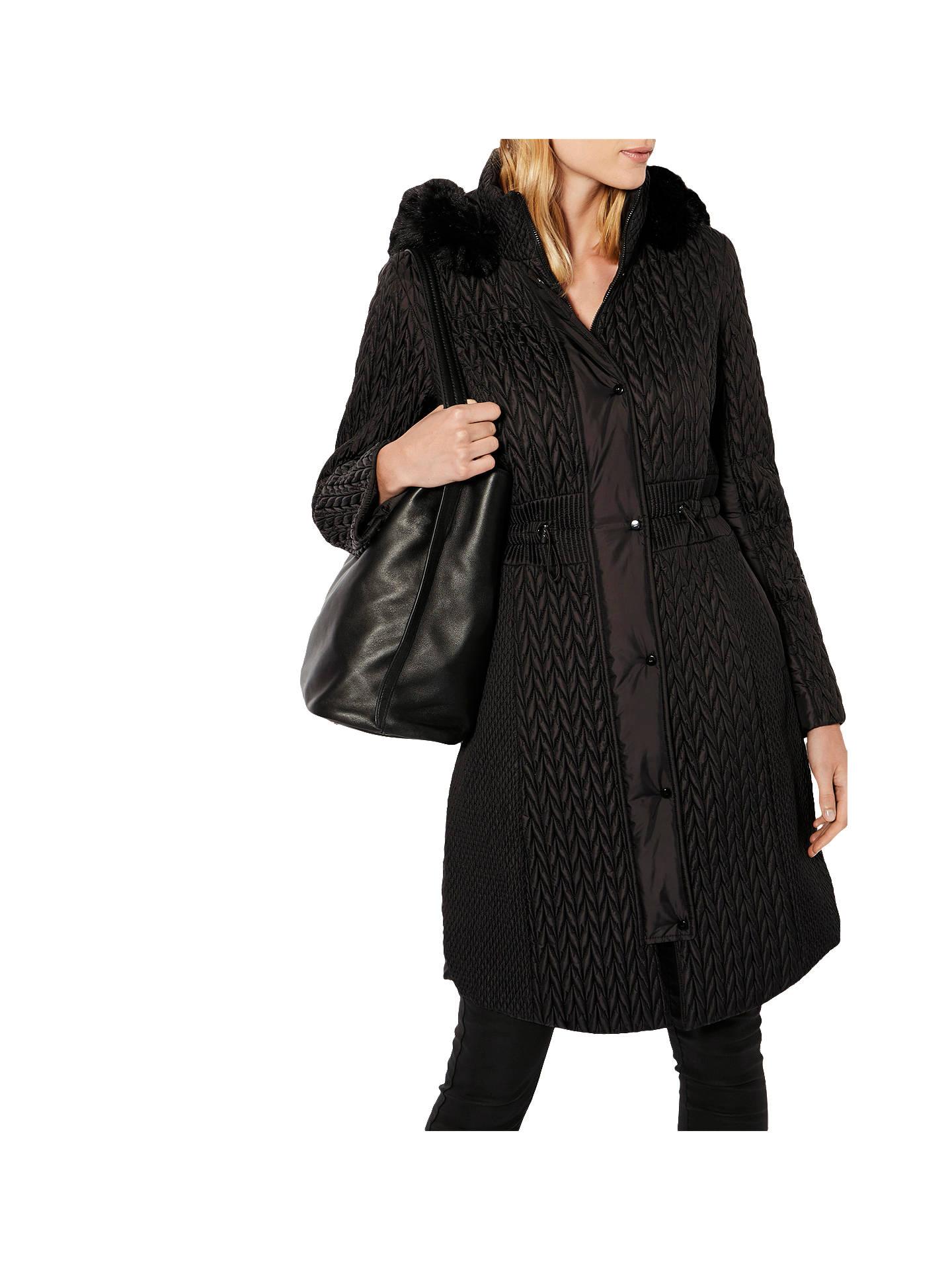 0b97d380b7 Buy Karen Millen Lightweight Padded Coat, Black, 6 Online at johnlewis.com  ...