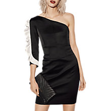 Buy Karen Millen One Shoulder Ruffle Dress, Black/Multi Online at johnlewis.com