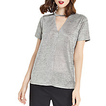 Buy Oasis Foil Choker T-Shirt, Metallic Pewter Online at johnlewis.com