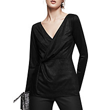 Buy Reiss Marissa Knot Front Metallic Top, Black Online at johnlewis.com