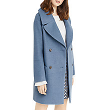 Buy Oasis Olive Double Breasted Coat, Mid Blue Online at johnlewis.com
