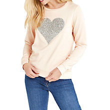 Buy Oasis Embellished Heart Sweatshirt, Mid Pink Online at johnlewis.com