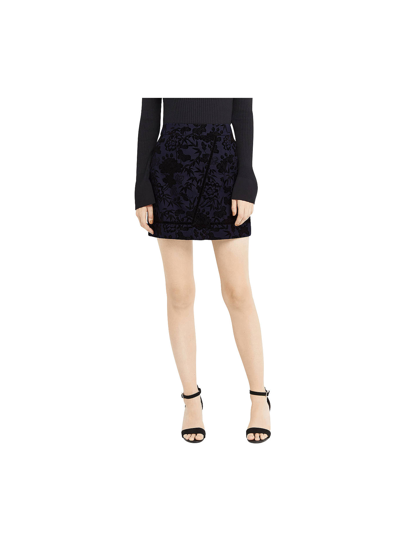 BuyOasis Flocked Mini Skirt, Navy, 6 Online at johnlewis.com