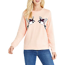 Buy Oasis Bird Applique Jumper, Light Pink Online at johnlewis.com